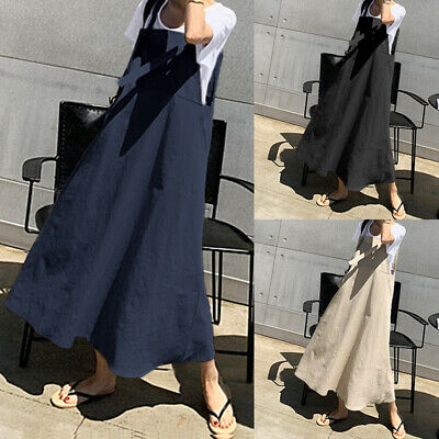 AU17.69 • Buy Women Plus Size Sleeveless Bib Pinafore Dungarees Loose Cotton Straps Maxi Dress