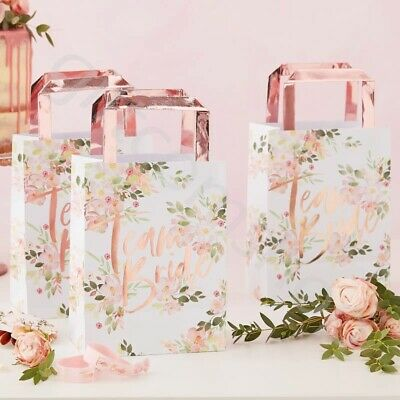 Team Bride Floral Party Bags Rose Gold Hen Night Party Favours Accessories X 5 • 5.95£
