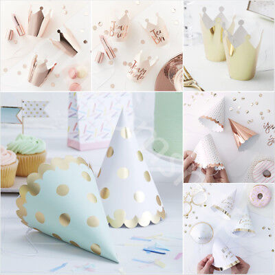 Foiled Paper Party Hats Crowns Birthday Hen Do Christmas Decoration Accessories • 3.20£