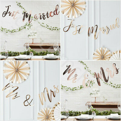 Just Married, Mr And Mrs Bunting Banner Vintage Wedding Party Venue Decoration • 6.90£