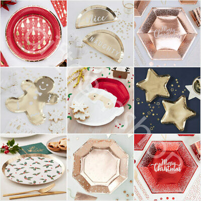 £2.80 • Buy Christmas Paper Plates Disposable Party Tableware Supplies Xmas Party Plates X 8