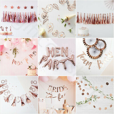 £5.90 • Buy Team Bride Rose Gold Vintage Hen Night Party Banner Bunting Decorations Supplies