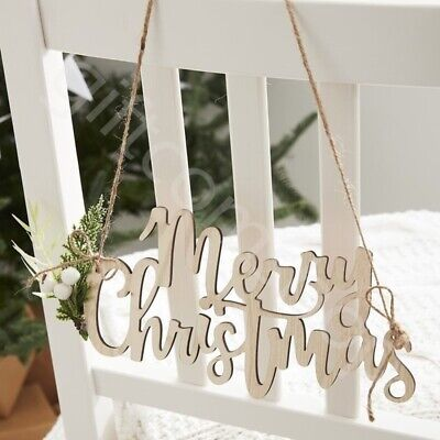 4 Wooden Merry Christmas Chair Signs Plaque Vintage Xmas Hanging Decorations • 6.99£