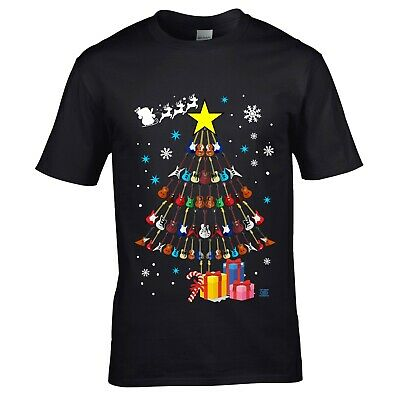 Funny Electric Guitar Christmas Tree T-shirt Xmas Gift For Guitarist Rock Blues • 12.95£