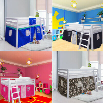 £139.95 • Buy Wooden Pine Cabin Bed High/Mid Sleeper Bunk Sleep Station With Ladder Boys Girls