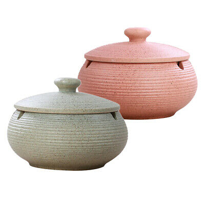 2pcs Ceramic Ashtray With Lid Windproof Ash Holder For Smokers Desktop Use • 16.91£