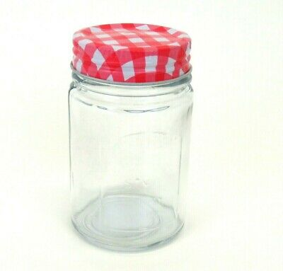 Clear Glass Jelly Jam Jar Red Gingham Metal Lid 4  6oz • 5.99$
