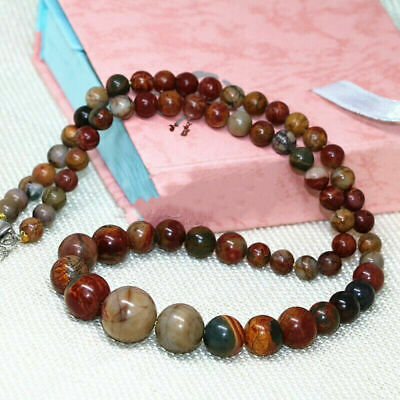 £4.49 • Buy Natural 6-14mm Multicolor Picasso Jasper Gemstone Round Beads Necklace 18  AAA
