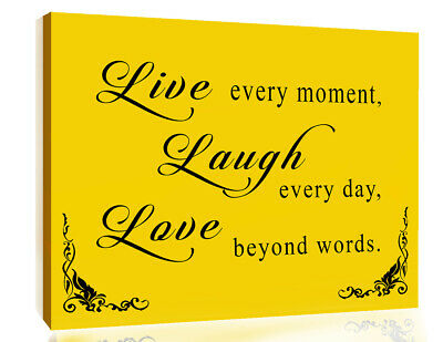 Mustard Yellow Live Laugh Love Quote Canvas Wall Art Picture Print A1 A2 + Sizes • 17.99£