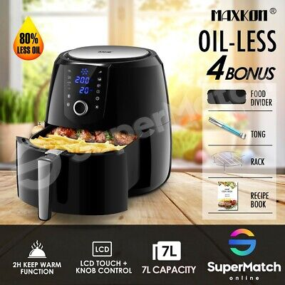 AU109.59 • Buy Maxkon 7L Air Fryer LCD Healthy Cooker Low Fat Oil Rapid Deep Fryer Black 1800W