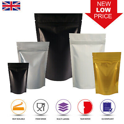 Matt Finish Foil Zip Lock Resealable Bags Stand Up Pouches Food Grade Heat Seal  • 6.99£