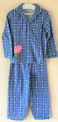 New Boys George Peppa Pig Winter Pyjamas Blue Checked - Official Exstore - 2-5Yr • 7.50£