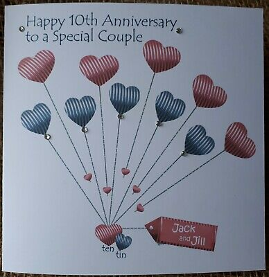 Personalised Handmade Tin/10th Wedding Anniversary Card, Friends, Daughter, Son • 3.40£
