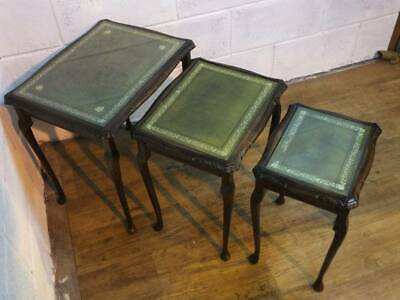 SET Of DARK MAHOGANY GREEN LEATHER GLASS TOPPED NEST OF 3 TABLES. 1 X Glass Miss • 60£
