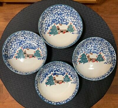 $28.99 • Buy Set Of (4) Folk Craft Cabin In The Snow Cereal Bowls 6 1/2  Christmas—Tienshan.