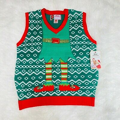 $19.58 • Buy Merry Christmas Elves Ugly Christmas Mens Sweater Vest  Nwt