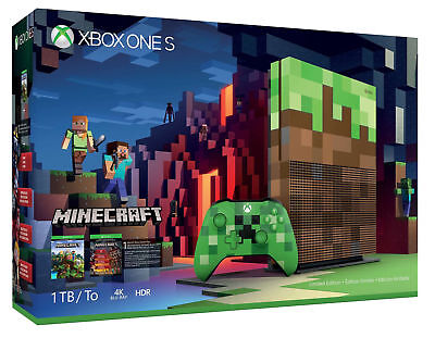 $479.99 • Buy Microsoft Xbox One S Minecraft Limited Edition Bundle 1TB Green & Brown Console