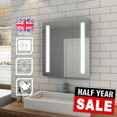 £169.99 • Buy Bathroom LED Mirror Cabinet With Shaver Socket Storage Wall Mounted  600x700mm