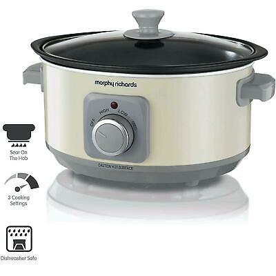 Morphy Richards Slow Cooker Sear And Stew 3.5L Cooking Pot With Glass Lid, Cream • 29.37£