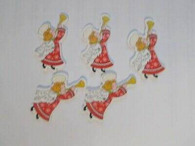 £1.89 • Buy 10 CHRISTMAS ANGEL Shaped Wooden Buttons Scrap Book Crafts Sewing
