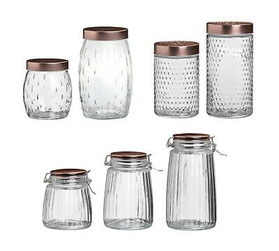 £7.25 • Buy Glass Storage Jars Copper Lids Clip Screw Top Tea Food Pasta Canister Containers