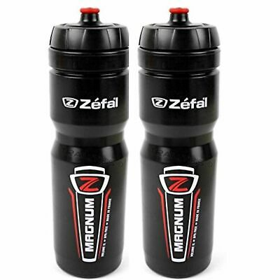 AU34.95 • Buy 2x Zefal Magnum 1 Litre Cycling Water Bottles Black (HUGE CAPACITY!) Bidons