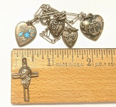 $ CDN70.36 • Buy Lot Vintage Heart Puffy Charms Most Hallmarked Sterling Forget Me Not Cross More