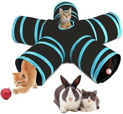 AU26.99 • Buy Pet Cat Kitten Puppy Tunnel Play Toy 5 WAY Foldable Exercise Tunnel Funny Toys