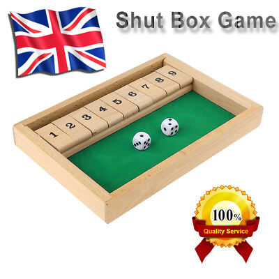 £10.98 • Buy Shut The Box Wooden Traditional Pub Dice Family Kids Childrens Puzzle Game UK