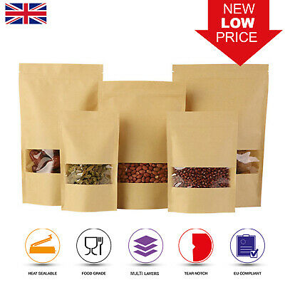 Kraft Paper Bag / Window Stand Up Pouch Zip Lock Resealable Heat Seal Display • 3.49£