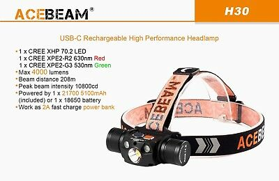 AU169.95 • Buy ACEBEAM H30 XHP70.2 4000 Lumens RED + CREE XPE2-G3 530nm GREEN