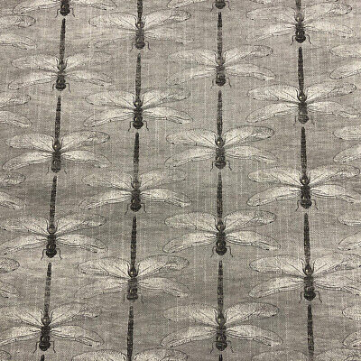 Botanical Dragonfly Linen Grey Fabric | Insects Nature Voyage Style | In Stock • 19.95£