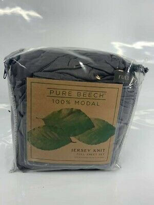 Pure Beech® Jersey Knit Modal Full Sheet Set In Charcoal - NEW Open Box • 39$