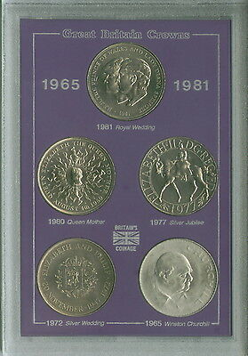 £39.99 • Buy GB British Commemorative Crowns 1965 1972 1977 1980 1981 UK Crown Coin Gift Set