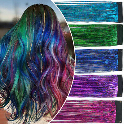 Holographic Sparkle Woman Hair Glitter Tinsel Extensions Dazzles Clip In Hair UK • 4.15£
