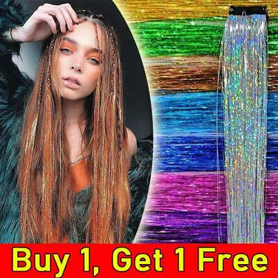 Clip In Hair Tinsel Sparkle Holographic Glitter Extensions Dazzles Partystyle UK • 4.15£