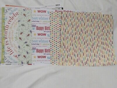 $7.99 • Buy SCRAPBOOKING PAPER CARDSTOCK SHEETS 12x12 BIRTHDAY PARTY THEMED LOT OF 40+