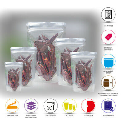 Clear Transparent Zip Lock Resealable Bags Stand Up Pouches Food Grade Heat Seal • 3.95£