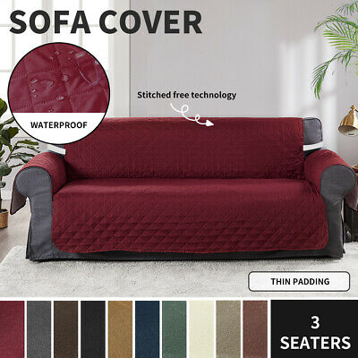 AU19.99 • Buy Sofa Covers Quilted Couch Lounge Protector Slipcovers Waterproof 3 Seater