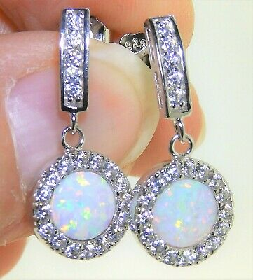 Sterling Silver (925) Opal Cabochon Round Cluster Drop Stud Earrings • 14.95£