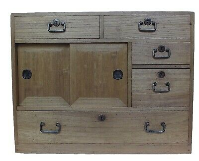 Vintage Japanese Ko Tansu Small Chest Cabinet Side Table Furniture 15G36 • 495$