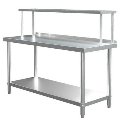 Stainless Steel Commercial Kitchen Food Prep Work Table+Over Shelf Bench Top Set • 159.95£