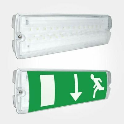 Led Emergency Light Bulkhead 3w Exit Sign Ip65 Maintained / Non Maintained • 13.50£