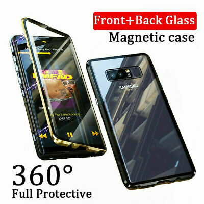 $ CDN9.53 • Buy For Samsung S9 S8 S10+ 360 Full Cover Magnetic Absorption Clear Glass+Metal Case
