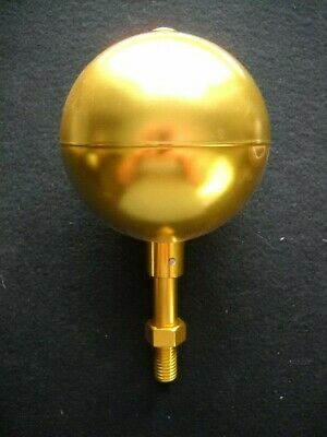 Gold Anodized 4  Ball Ornament Flag Pole Topper Aluminum 1/2  Shaft • 25$