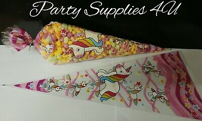 Pink Unicorn Cone Party Bags. Cello/Popcorn/Birthday Gifts/party. 10pk With Ties • 3.25£