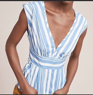 $ CDN49.36 • Buy Anthropologie Tracy Reese Plunge Vneck Striped Top Size Large