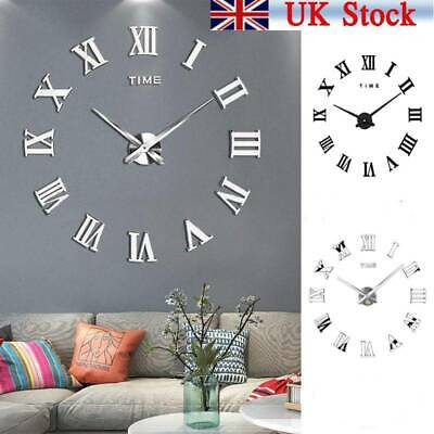 DIY 3D Large Number Mirror Wall Clock Sticker Decor For Home Office Kids Room • 9.59£