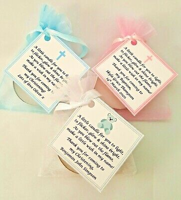 10 X CHRISTENING / BAPTISM FAVOURS Vanilla Candle Tealights - Personalised Name • 7.49£