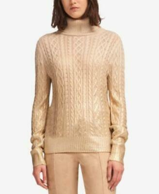 $19.50 • Buy DKNY Womens Metallic Detail Cable-Knit Turtle Neck Sweater $119 TINI {&}